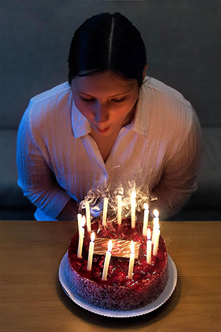 Girl with Birthday Cake & Candles
